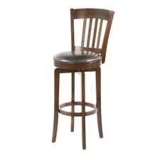 Canton Swivel Bar Height Barstool with Vinyl Seat in Brown