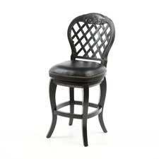 "Braxton 26"" Black Leather Swivel Counter Stool"