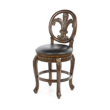 "Fleur De Lis 25"" Triple Leaf Swivel Counter Stool"