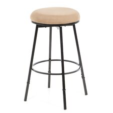 "Sanders 24-30"" Adjustable Backless Bar Stool with Bear Suede in Matte Black"