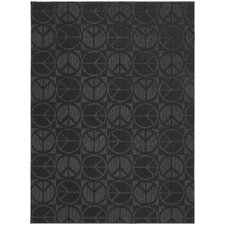 Magic Odor Eliminating Black Large Peace Rug