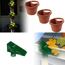 3 Piece Drain Pipe Planter Set and EZ Clean Downspout Screen