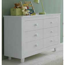 Gala Double 6-Drawer Dresser in White