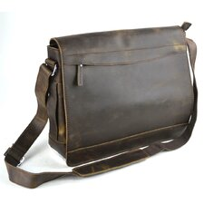 "16"" Large Leather Laptop Messenger Bag"