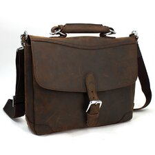 "15"" Cowhide Fine Leather Messenger Bag"