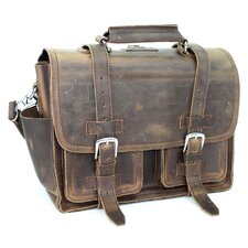 "16"" Leather Briefcase Backpack"