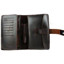 <strong>Vagabond Traveler</strong> Universal Leather Wallet with Passport and Check Bifold Holder