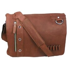 Asymmetrical Leather Messenger Laptop Bag