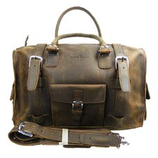 "<strong>Vagabond Traveler</strong> 18"" Leather Overnight Travel Duffel"
