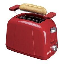 Toaster 2 Scheiben in Rot mit Brötchenaufsatz