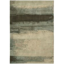 Luster Wash Light Green Scene Area Rug