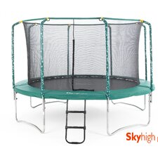 Plus Trampoline in Green with Enclosure and Ladder