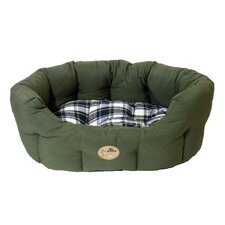 40 Winks Country Oval Sleeper Dog Bed in Green/Check