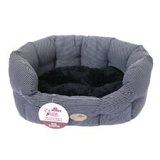 40 Winks Oval Sleeper Dog Bed in Blue Stripe