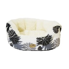 40 Winks Floral Oval Sleeper Dog Bed in Black/Cream