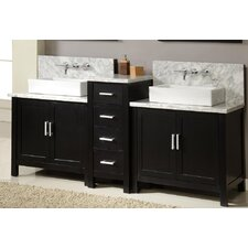"<strong>J&J International LLC</strong> Horizon 84"" Double Bathroom Vanity Set"