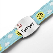 Children's Epilepsy Sun and Clouds Sport Strap ID Bracelet