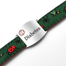 Children's Diabetes Bugs Sport Strap ID Bracelet