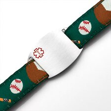 Children's Baseball Sport Strap Bracelet with Medical ID Tag