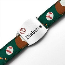 Children's Diabetes Baseball Sport Strap ID Bracelet