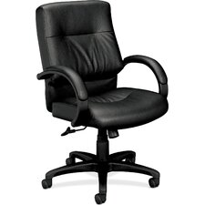 <strong>Basyx by HON</strong> Series Midback Leather Manager Chair with Padded Arms