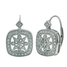 Cushion Cut and Radiant Diamond Drop Earrings