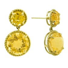 Round Cut Citrine Candy Drop Earrings
