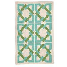 Geometric Tile Blue/Green Area Rug