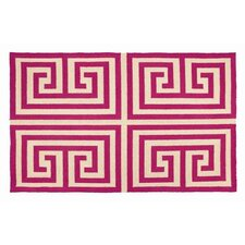 Greek Key Pink Geometric Area Rug