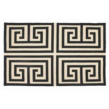 Greek Key Black Geometric Area Rug