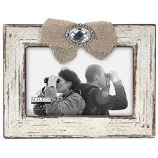 "4"" x 6"" Burlap Ribbon With Jewel Picture Frame"