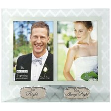 "2 Opening 4"" x 6"" Mr and Mrs. Right Glass Picture Frame"