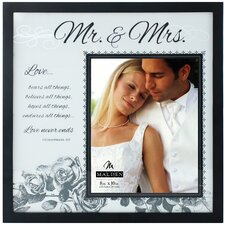 "8 x 10"" Mr and Mrs. Frosted Glass Picture Frame"