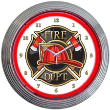 "15"" Fire Department Neon Clock"