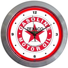 "Texaco 15"" Gasoline Neon Wall Clock"