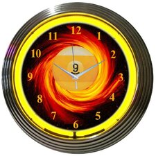 Billiards Nine Ball Fire Neon Clock