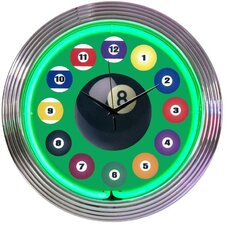 "<strong>Neonetics</strong> Bar and Game Room 15"" Billiard Ball Wall Clock"