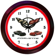 "Cars and Motorcycles 15"" Corvette Wall Clock"