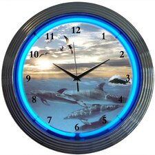 "<strong>Neonetics</strong> Bar and Game Room 15"" Dolphins at Sea Wall Clock"