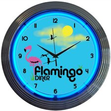 "<strong>Neonetics</strong> Retro 15"" Flamingo Diner Wall Clock"