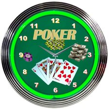 "<strong>Neonetics</strong> Bar and Game Room 15"" Poker Wall Clock"