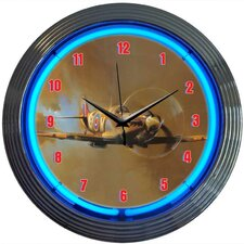 "Retro 15"" WWII Spitfire Airplane Wall Clock"