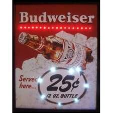 25 Cent Budweiser LED Lighted Framed Vintage Advertisement