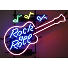 Bar & Game Room Rock and Roll Guitar Neon Sign
