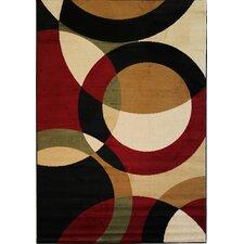 Dulcet Red Bingo Rings/Circles Rug
