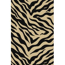 Kings Court Black Zebra Animal Print Rug