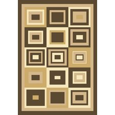 Melody Boxes Brown Geometric Rug
