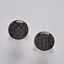 Sterling Silver and Carbon Fiber Round Cuff Link Set