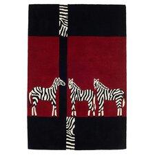 Kalahari Zebra Black / Red Tufted Rug
