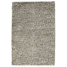 Plain White / Black Shag Rug
